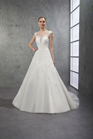 Robe de mariée dos nu traine simple laçage dos dentelle brillant